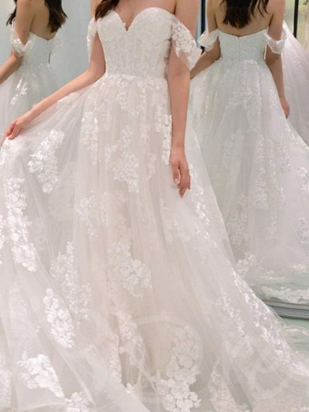 A-Line Wedding Dresses Off Shoulder Sweep \ Brush Train Chiffon Lace Strapless_2