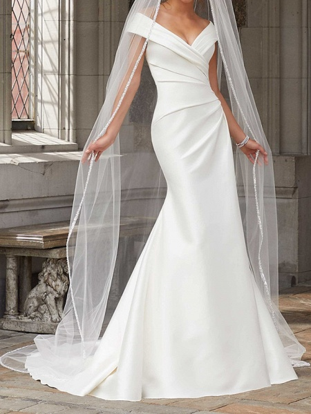 Mermaid \ Trumpet Wedding Dresses Off Shoulder Sweep \ Brush Train Polyester Cap Sleeve Country Plus Size