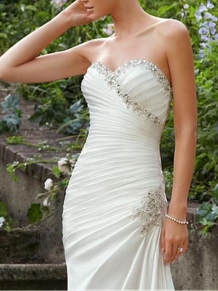 Mermaid \ Trumpet Wedding Dresses Strapless Sweep \ Brush Train Chiffon Over Satin Sleeveless Formal Sexy_2