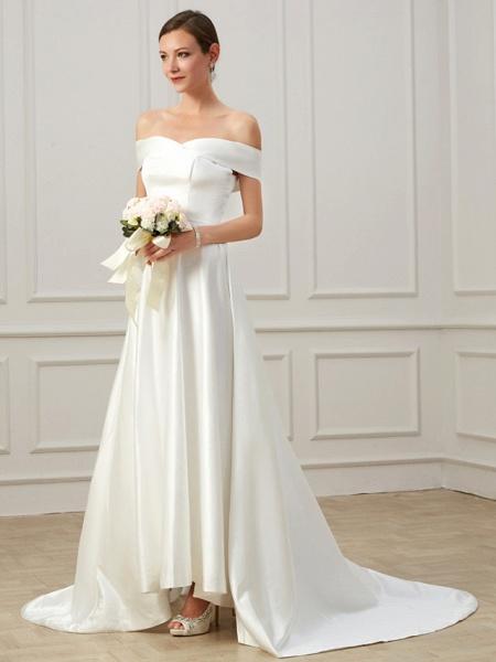 A-Line Wedding Dresses Off Shoulder Court Train Satin Short Sleeve Formal Vintage Plus Size_3