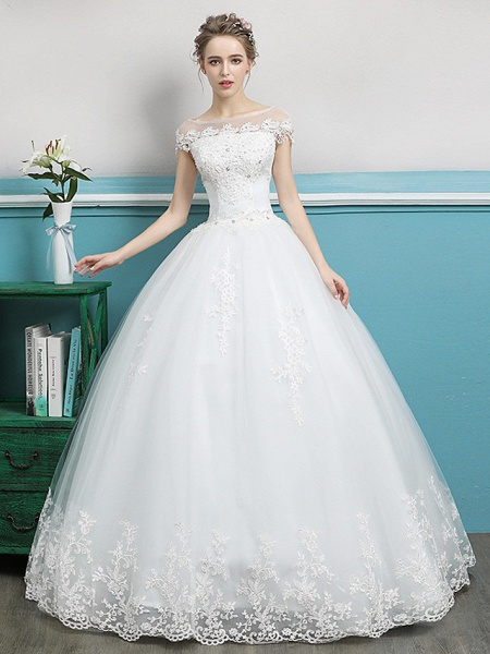 Ball Gown Wedding Dresses Bateau Neck Floor Length Lace Tulle Polyester Short Sleeve Romantic_1