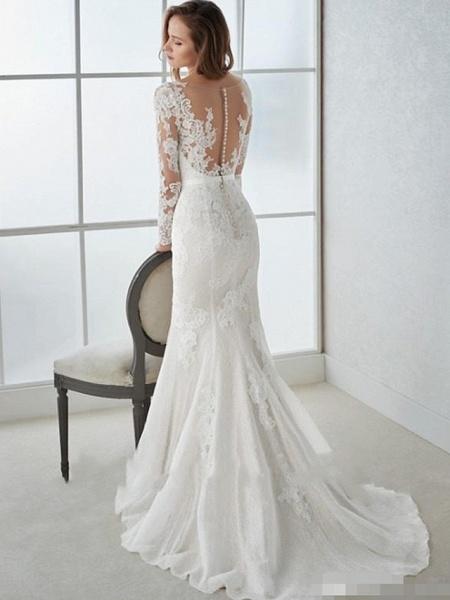 Mermaid \ Trumpet Wedding Dresses V Neck Sweep \ Brush Train Lace Tulle Long Sleeve Country Illusion Sleeve_3