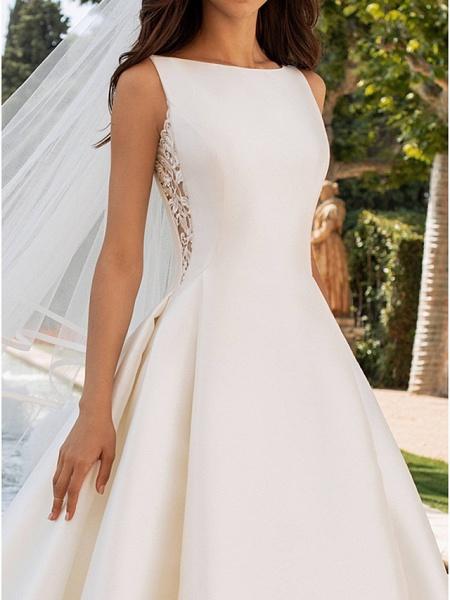 A-Line Wedding Dresses Bateau Neck Court Train Satin Regular Straps Romantic Plus Size Elegant_3