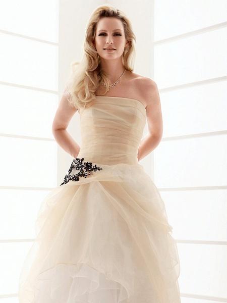 Princess A-Line Wedding Dresses Strapless Floor Length Organza Sleeveless Wedding Dress in Color_2