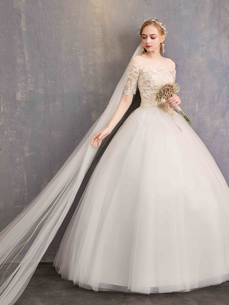 Ball Gown Wedding Dresses Off Shoulder Floor Length Tulle Lace Over Satin Half Sleeve Glamorous Illusion Detail_6
