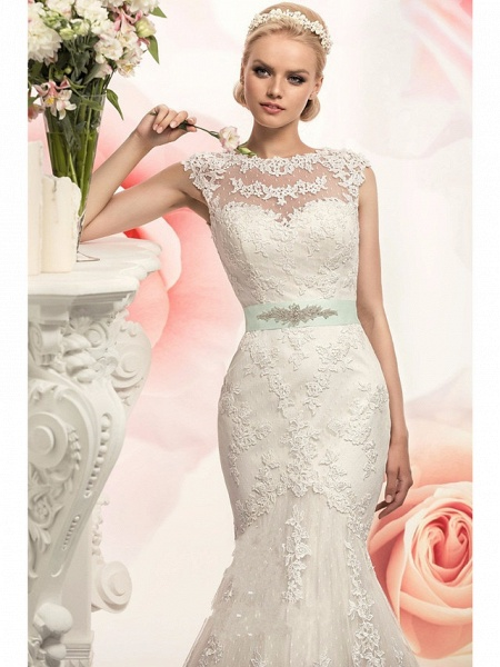 Mermaid \ Trumpet Wedding Dresses Jewel Neck Court Train Lace Tulle Cap Sleeve_3