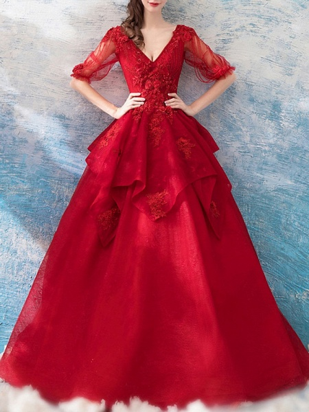 Ball Gown Wedding Dresses V Neck Floor Length Polyester Half Sleeve Romantic Plus Size Red_4