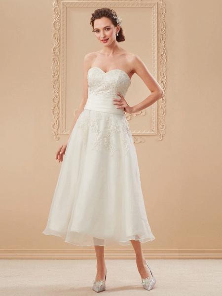 A-Line Wedding Dresses Bateau Neck Tea Length Organza Floral Lace Regular Straps Formal Casual Illusion Detail_14