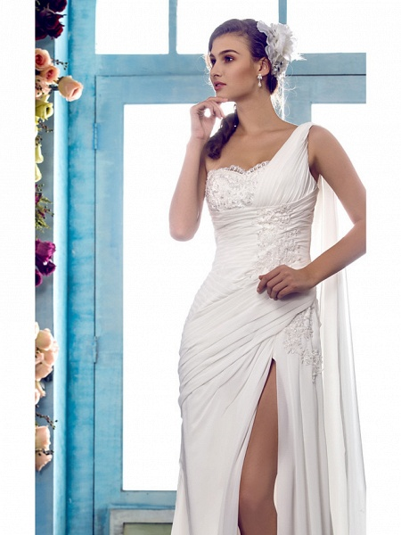 Sheath \ Column Wedding Dresses One Shoulder Sweep \ Brush Train Chiffon Regular Straps Country Simple Vintage Illusion Detail_5
