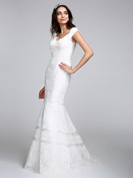 Mermaid \ Trumpet Wedding Dresses V Neck Floor Length All Over Lace Cap Sleeve Romantic Sexy Illusion Detail Backless_6