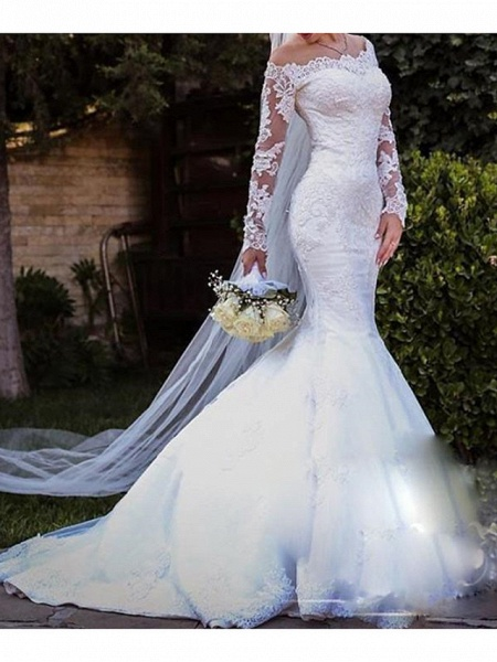 Mermaid \ Trumpet Off Shoulder Sweep \ Brush Train Lace Tulle Long Sleeve Country Plus Size Wedding Dresses_2