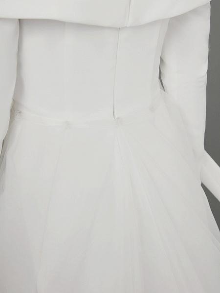 A-Line Wedding Dresses Off Shoulder Chapel Train Chiffon Tulle Long Sleeve Sexy_14
