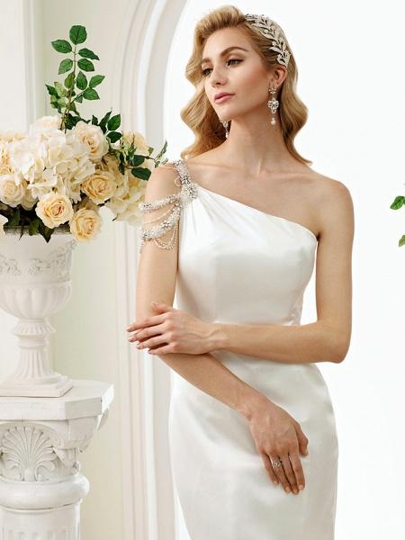 Mermaid \ Trumpet Wedding Dresses One Shoulder Sweep \ Brush Train Stretch Satin Regular Straps Simple Sexy Modern Elegant_5
