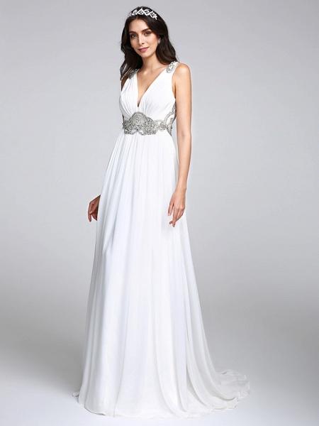 A-Line Wedding Dresses V Neck Sweep \ Brush Train Chiffon Regular Straps Country Romantic Glamorous Sparkle & Shine Plus Size Backless_1