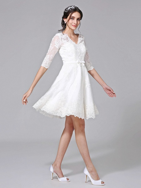 A-Line Wedding Dresses V Neck Knee Length All Over Lace 3\4 Length Sleeve Formal Casual Vintage Cute Illusion Sleeve_4