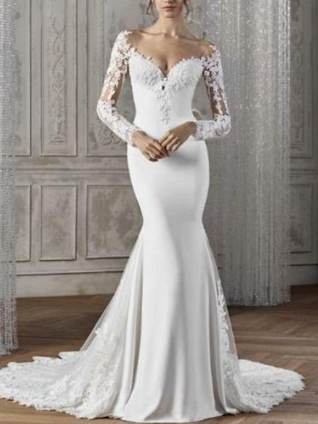 Mermaid \ Trumpet Wedding Dresses V Neck Court Train Lace Satin Long Sleeve Sexy Backless Illusion Sleeve_1