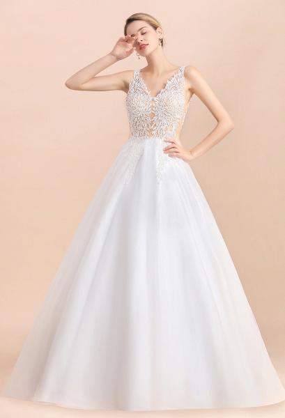 A-line Straps Tulle Appliques V-Neck Lace Boho Wedding Dress_7