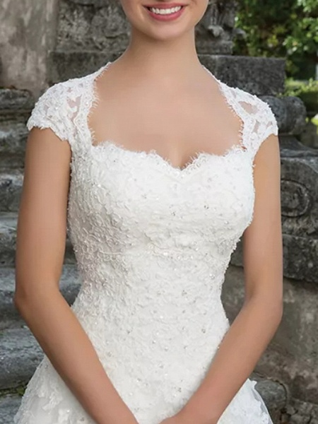 A-Line Bateau Neck Sweep \ Brush Train Lace Tulle Short Sleeve Country Plus Size Wedding Dresses_3