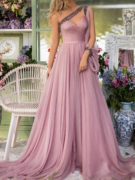 A-Line Wedding Dresses One Shoulder V Neck Sweep \ Brush Train Chiffon Sleeveless Vintage Sexy Wedding Dress in Color_5
