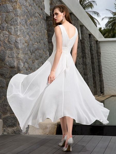 A-Line Wedding Dresses V Neck Asymmetrical Georgette Regular Straps Formal Simple Casual Plus Size_5