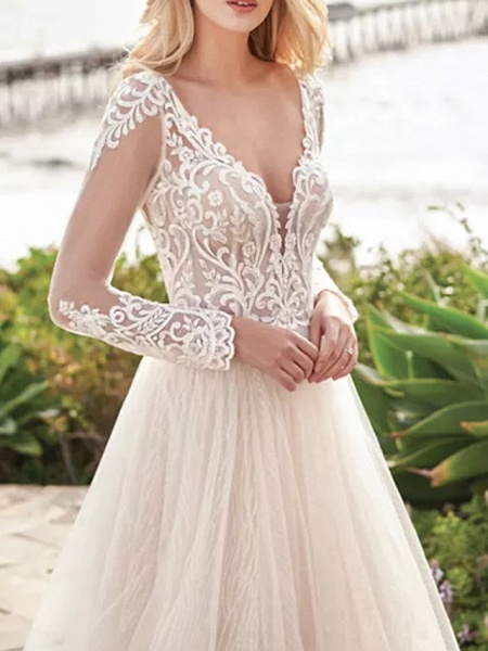 A-Line Wedding Dresses V Neck Sweep \ Brush Train Tulle Polyester Long Sleeve Country Beach Plus Size Illusion Sleeve_3