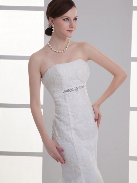 Mermaid \ Trumpet Wedding Dresses Strapless Court Train Lace Satin Strapless_4