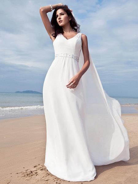 Sheath \ Column Wedding Dresses V Neck Floor Length Chiffon Regular Straps Simple Beach Plus Size_5