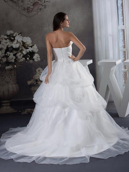 A-Line Strapless Chapel Train Organza Satin Strapless Wedding Dresses_3