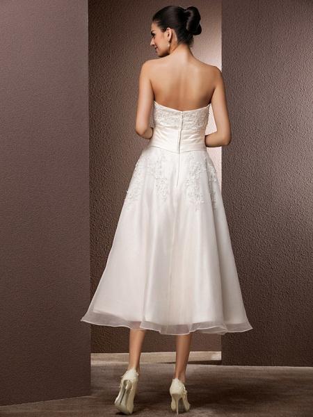 A-Line Wedding Dresses Bateau Neck Tea Length Organza Floral Lace Regular Straps Formal Casual Illusion Detail_10