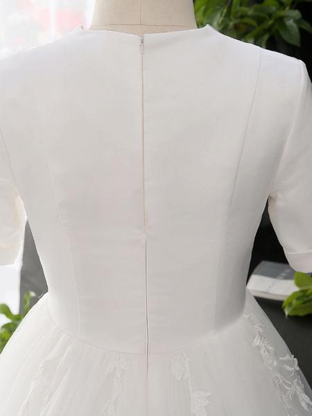 A-Line V Neck Court Train Satin Tulle Half Sleeve Simple Elegant Wedding Dresses_7