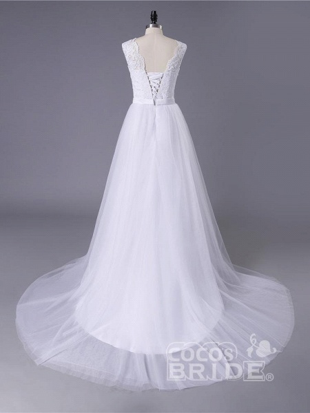 New Lace O-Neck Lace Tulle Boho Wedding Dresses_4