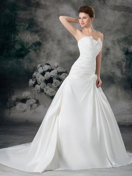 A-Line Sweetheart Neckline Court Train Satin Taffeta Strapless Wedding Dresses_3