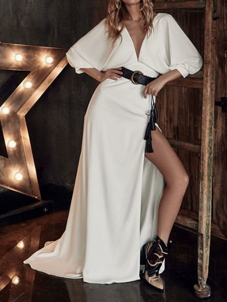 A-Line Wedding Dresses Plunging Neck Sweep \ Brush Train Stretch Satin 3\4 Length Sleeve Country Plus Size_1