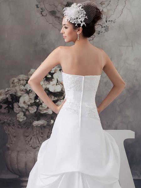 A-Line Strapless Court Train Satin Strapless Wedding Dresses_5