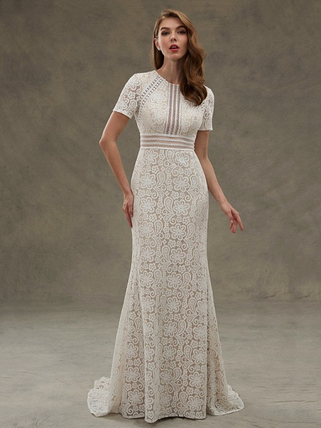 Sheath \ Column Wedding Dresses Jewel Neck Floor Length Sheer Lace Short Sleeve Open Back See-Through_4