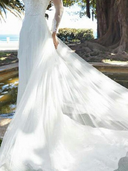 A-Line Wedding Dresses Jewel Neck Court Train Tulle Polyester Long Sleeve Country Plus Size Illusion Sleeve_3