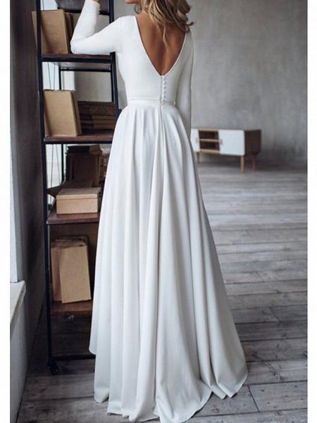 A-Line Wedding Dresses Jewel Neck Sweep \ Brush Train Chiffon Over Satin Long Sleeve Simple Modern_2