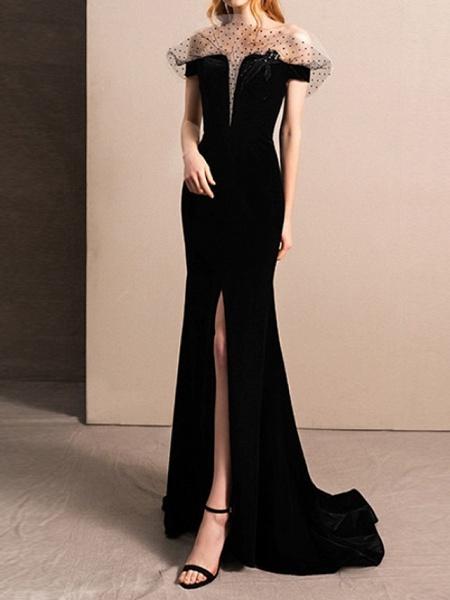 Mermaid \ Trumpet Off Shoulder Sweep \ Brush Train Tulle Short Sleeve Beach Black Wedding Dresses_1
