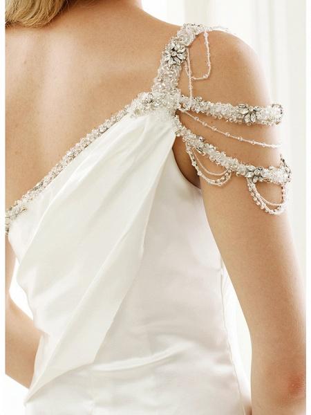 Mermaid \ Trumpet Wedding Dresses One Shoulder Sweep \ Brush Train Stretch Satin Regular Straps Simple Sexy Modern Elegant_9