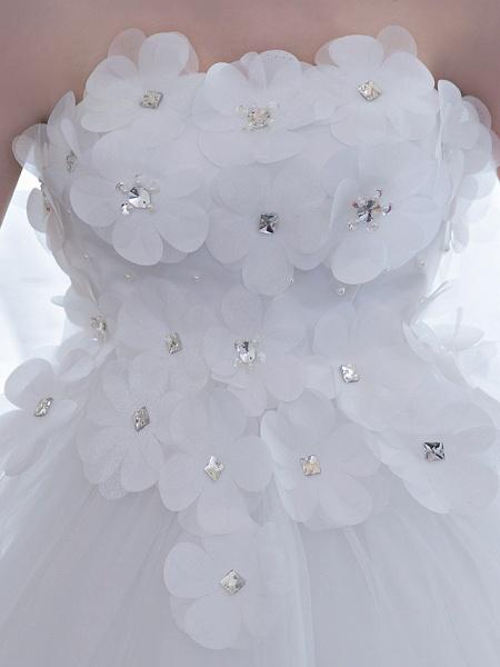 Ball Gown Wedding Dresses Strapless Chapel Train Satin Tulle Strapless Sparkle & Shine_8