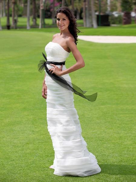 Mermaid \ Trumpet Wedding Dresses Strapless Floor Length Organza Satin Sleeveless Wedding Dress in Color_5