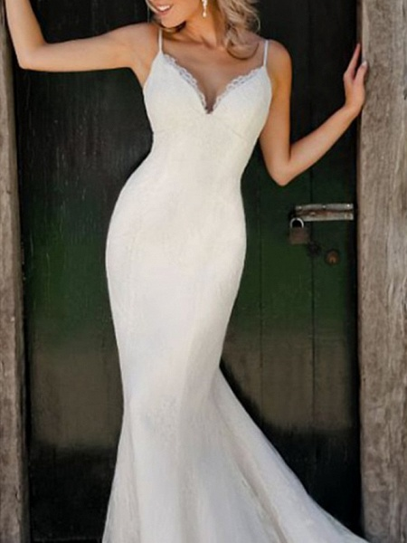 Mermaid \ Trumpet Wedding Dresses V Neck Spaghetti Strap Sweep \ Brush Train Lace Sleeveless Simple Sexy_3
