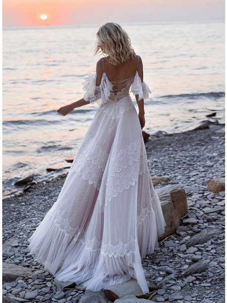 A-Line Wedding Dresses V Neck Sweep \ Brush Train Lace Tulle Short Sleeve Illusion Detail Backless_2