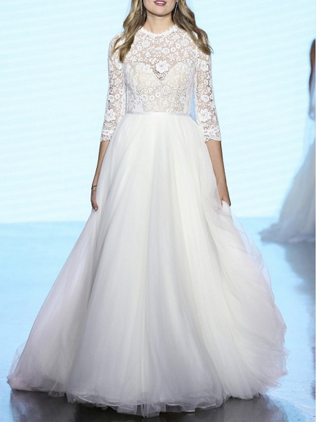 A-Line Wedding Dresses Jewel Neck Sweep \ Brush Train Tulle Polyester 3\4 Length Sleeve Country Boho Plus Size_1