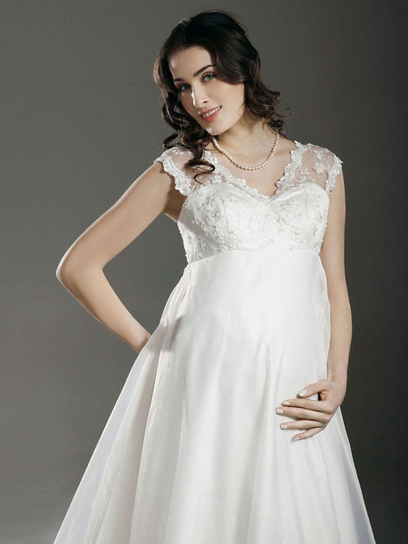 A-Line Wedding Dresses V Neck Court Train Lace Organza Regular Straps See-Through_4