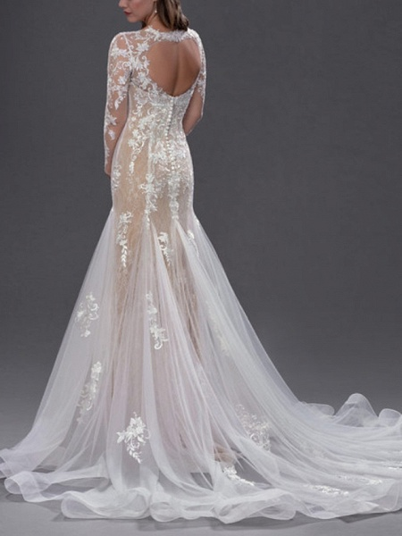 Mermaid \ Trumpet Jewel Neck Chapel Train Lace Tulle Long Sleeve Sexy See-Through Wedding Dresses_2