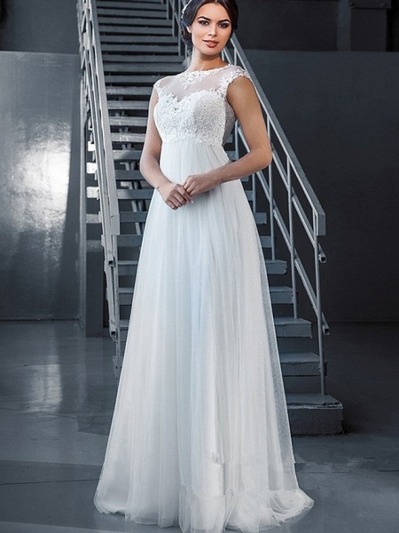 A-Line Wedding Dresses Off Shoulder Court Train Lace Tulle Sleeveless Sexy_1