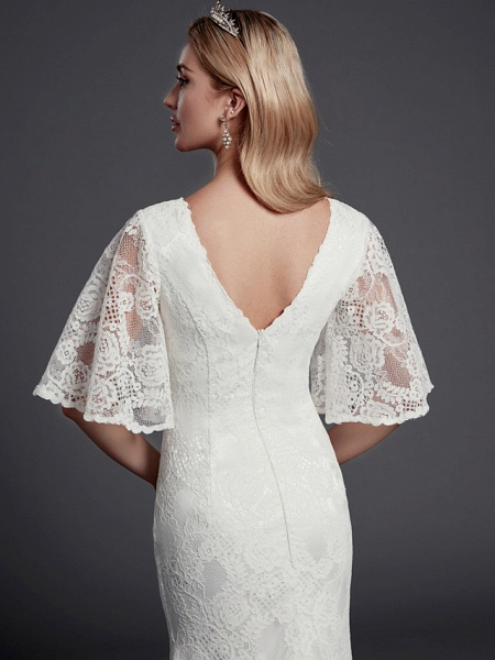 Mermaid \ Trumpet Wedding Dresses V Neck Sweep \ Brush Train Lace Half Sleeve Beautiful Back_6