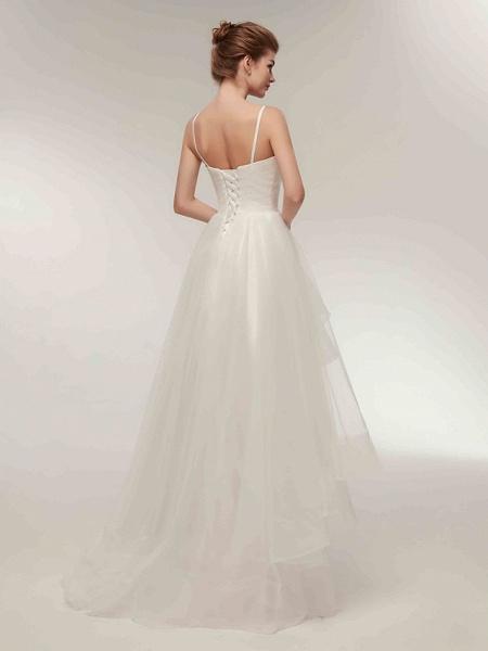 A-Line Wedding Dresses V Neck Asymmetrical Tulle Spaghetti Strap Simple Casual Little White Dress_12