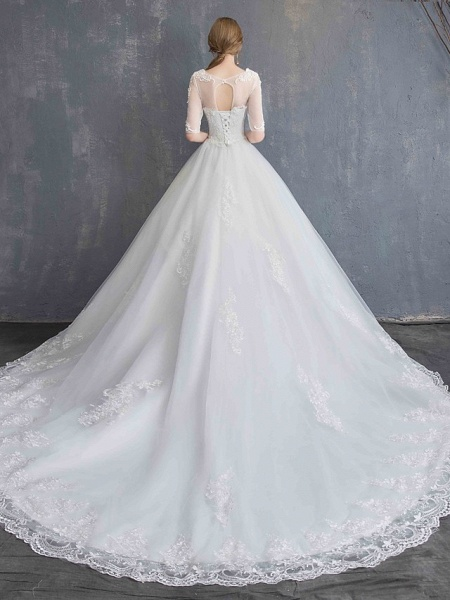 Ball Gown Wedding Dresses Scoop Neck Chapel Train Lace Tulle Sequined Half Sleeve Glamorous See-Through Illusion Sleeve_16